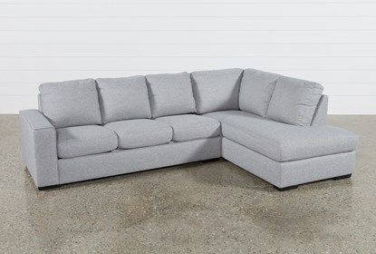 Lucy Grey 2 Piece Sectional with Right Arm Facing Chaise .