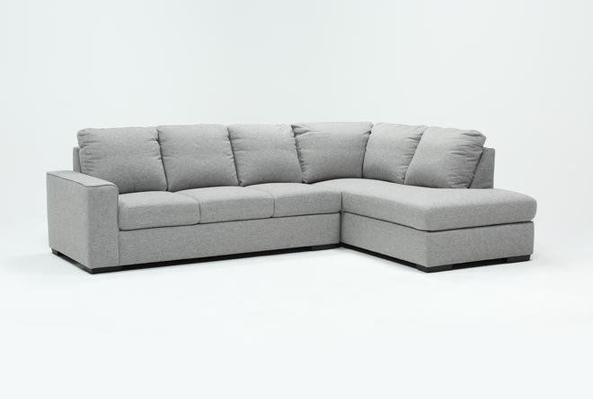 Lucy Grey 2 Piece Sectional with Right Arm Facing Chaise | Couch .