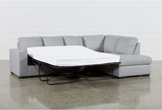 Lucy Grey 2 Piece Sleeper Sectional W/Raf Chaise | Living Spaces .