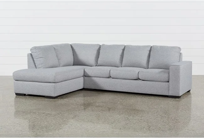 Lucy Grey 2 Piece Sectional Sofa with Left Arm Facing Chaise .