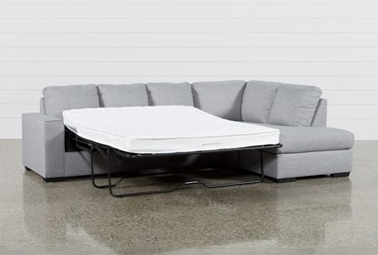 Lucy Grey 2 Piece Sleeper Sectional With Right Arm Facing Chaise .