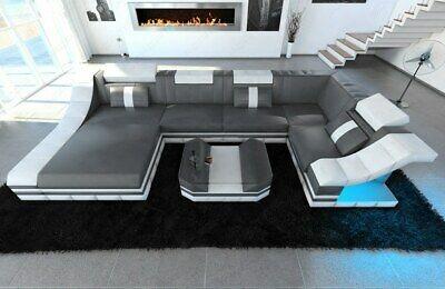 Luxury Sectional Sofa New York U Shape with LED genuine leather .