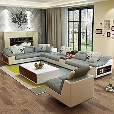 Amazon.com: My Aashis Luxury Modern U Shaped Leather Fabric Corner .