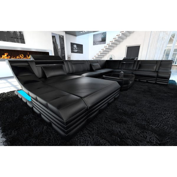Shop Luxury Sectional Sofa New York XL LED Lights - Overstock .