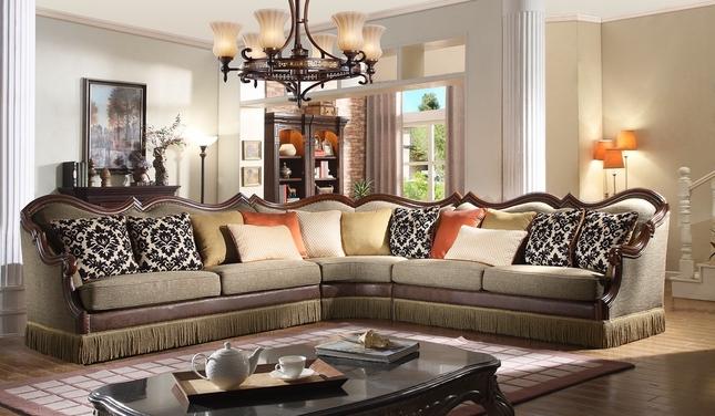 Autumn Bronze Luxury 3-pc Beige Sectional Sofa w/ Dark Carved Wood .