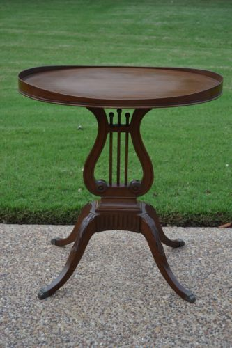 Mersman Vintage Antique Lyre Harp Pedestal Table Mahogany Oval Top .