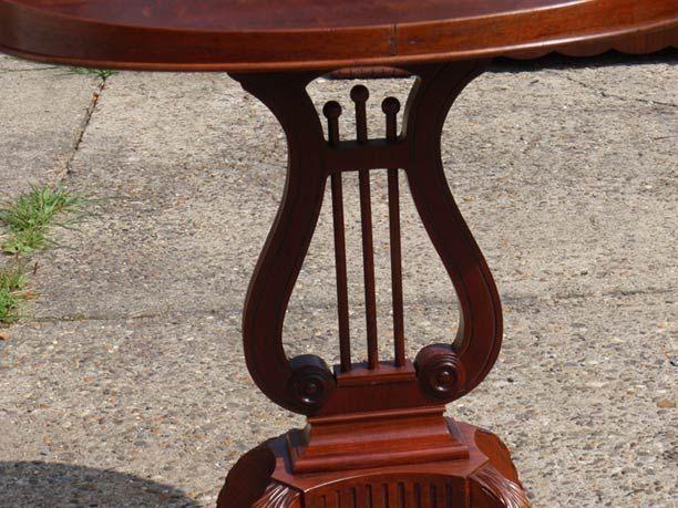 Mersman Mahogany Duncan Phyfe Oval Harp Lyre End Tab
