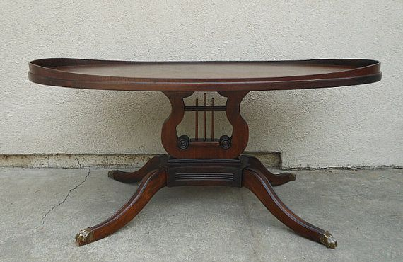Antique 1920s Oval Mahogany Unmarked Mersman CoffeeTable with Harp .