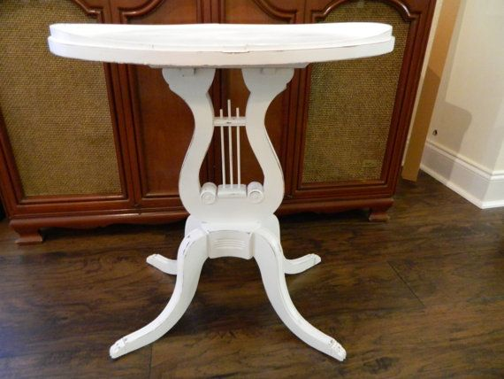 Vintage Wood Harp Table Lyre Side Table 1940s by 3sisterstreasures .