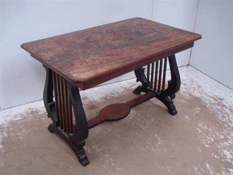 Mahogany Coffee Table Supported on Lyre Harp En