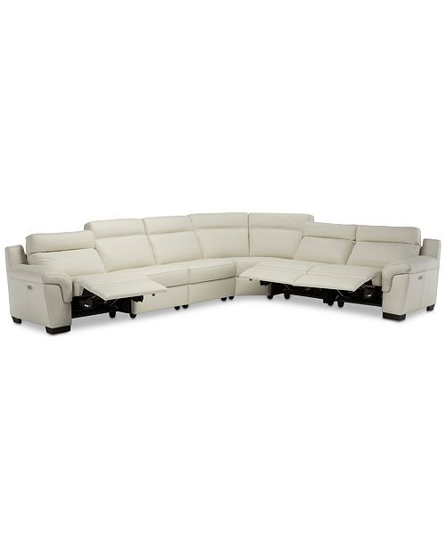 Furniture Julius II 6-Pc. Leather Sectional Sofa With 3 Power .