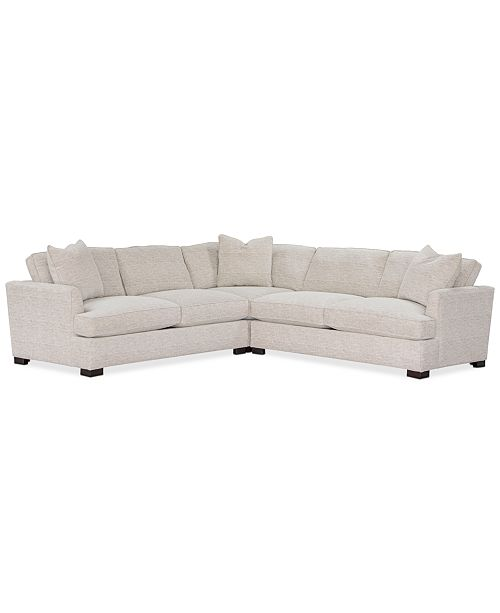 """Furniture Juliam 3-Pc. Fabric """"L"""" Shape Sectional Sofa, Created ."""