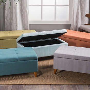 Maddox Storage Bench | Storage bench, Fabric storage ottoman .