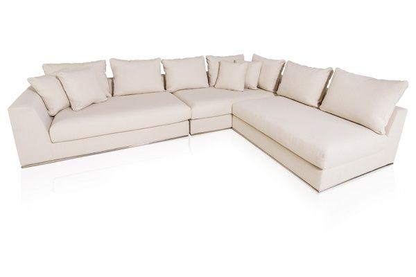 Giovani Fabric Contemporary Sofa Cream   Sectional sofa cou