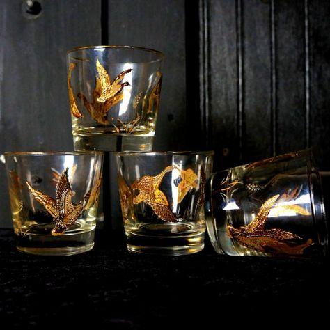 Mallard Cocktail Glasses Four 4 22k Gold by LightlySaucedRetro .