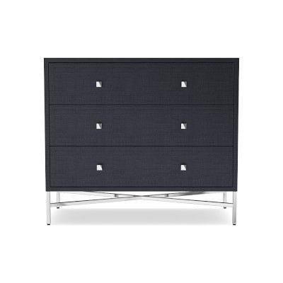 Alton 3 Drawer Single Dresser, Navy Raffia, Polished Nickel .
