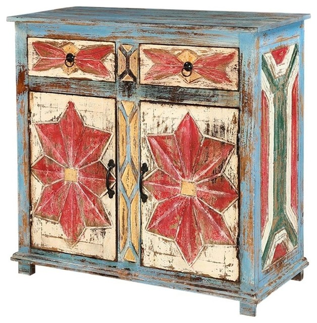 Finley Distressed Blue Mango Wood 2 Door 2 Drawer Buffet Cabinet .