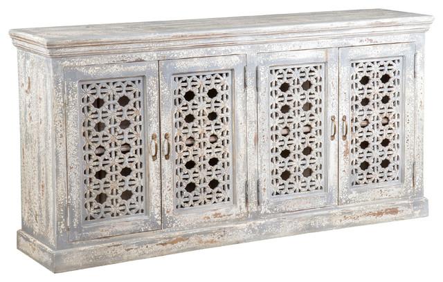 Hepburn 4 Door Antique White Mango Wood Sideboard by Kosas Home .