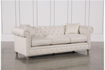 Mansfield 96 Inch Beige Linen Sofa - Main | Linen so