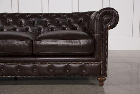 Mansfield 96 Inch Cocoa Leather Sofa | Leather sofa, So
