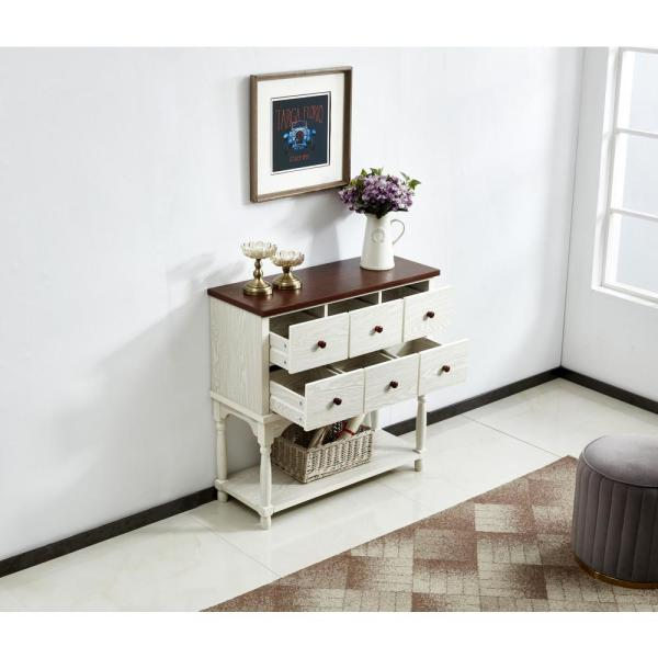 Boyel Living White Console Sofa Table with Drawer and Bottom Shelf .