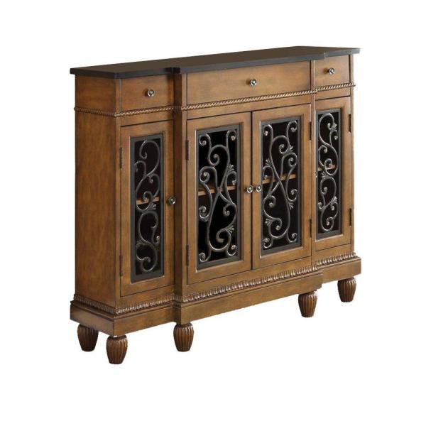 Benjara Oak Brown Console Table BM154237 - The Home Dep