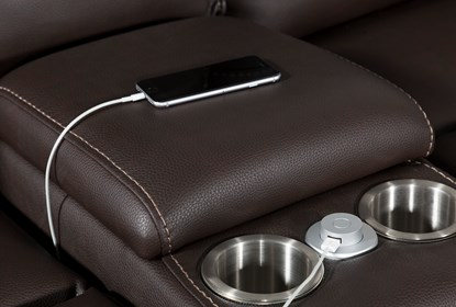Marcus Chocolate 6 Piece Sectional W/Power Headrest And Usb .