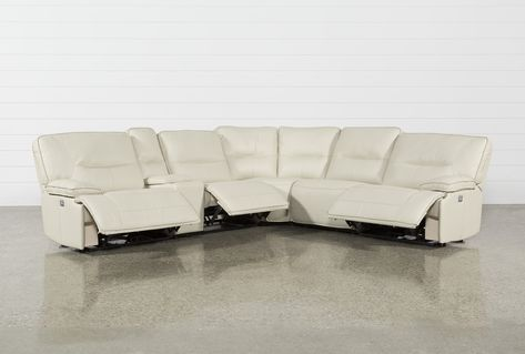 Marcus Oyster 6 Piece Sectional Sofa WithPower Headrest And USB .