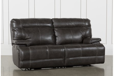 Marius Dark Grey Power Reclining Sofa With Power Headrest And Usb .