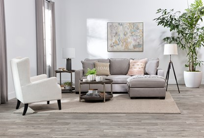 Egan II Cement Sofa With Reversible Chaise | Living Spac