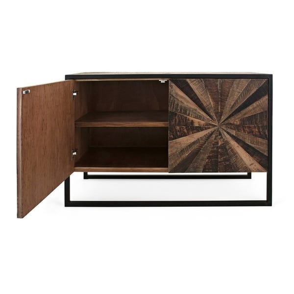 Shop Iron Framed Reclaimed Wood Sideboard with Two Shelves, Brown .