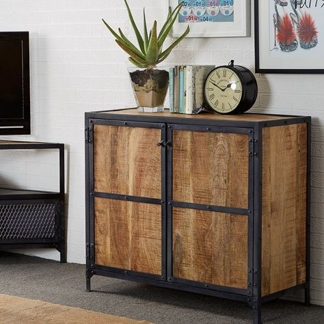 Romarin Compact Sideboard In Reclaimed Wood And Metal Frame .