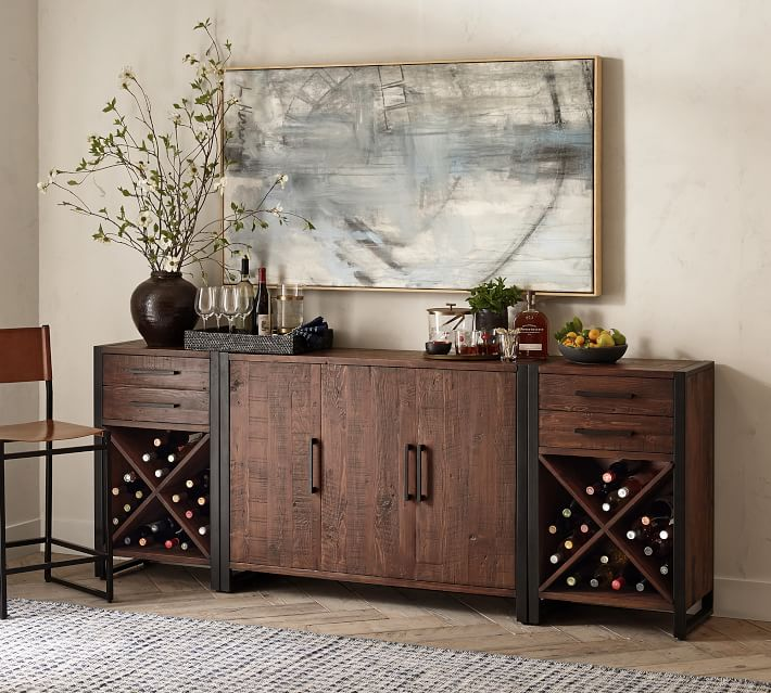 """Griffin 92"""" Reclaimed Wood Buffet & Wine Console Set 