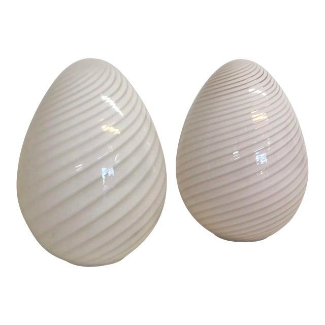 Mid Century Modern Murano Egg Floor or Table Lamps by Vetri 2 .
