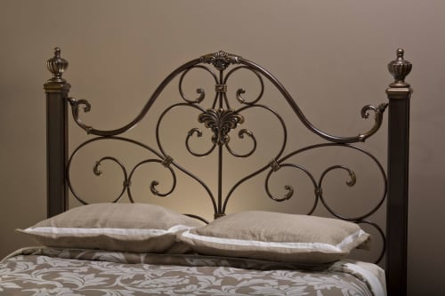 Hillsdale Mikelson Aged Antique Gold Queen Bed Set with Bed Rails .