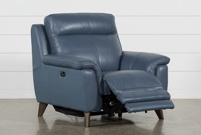 Moana Blue Leather Power Reclining Chair With Usb | Living Spac