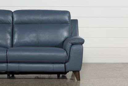 Dual Power Reclining Sofa with USB port, Moana Blue - $1095 .
