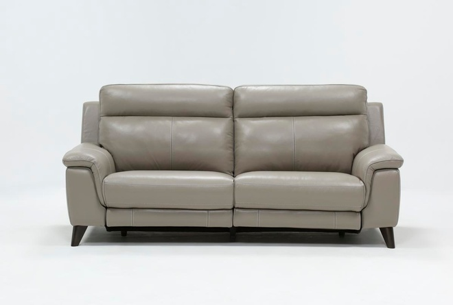 Moana Taupe Leather Dual Power Reclining Sofa With Usb | Living Spac