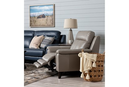 Moana Taupe Leather Power Reclining Chair With Usb | Living Spac