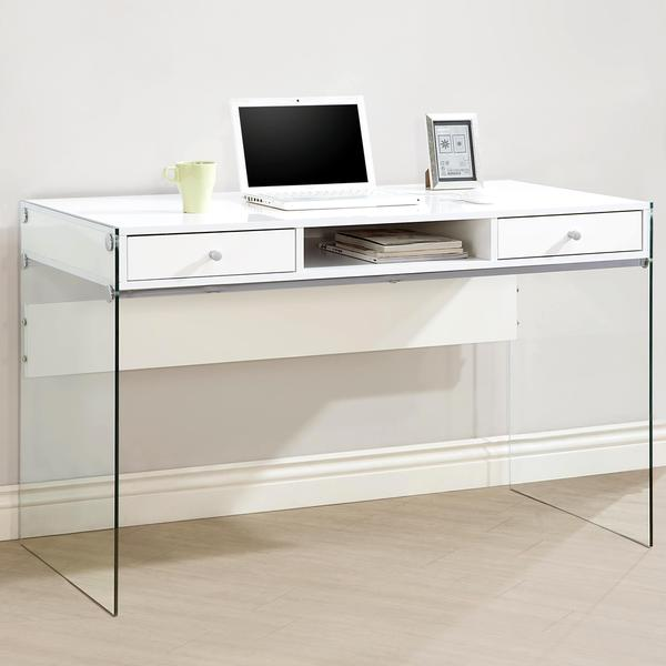Shop Contemporary Modern Style Glass Home Office Glossy White .