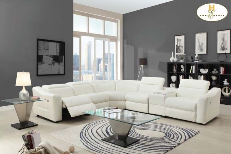 Modern White Leather Reclining Sectional Sofa Chaise Console .