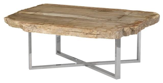 """45"""" Wide Coffee Table Rustic Petrified Wood Modern Brown - Rustic ."""