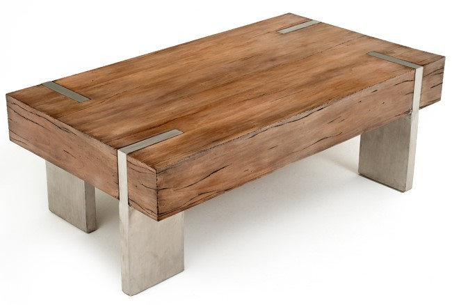 Rustic coffee table for cabin | Modern Stainless Le