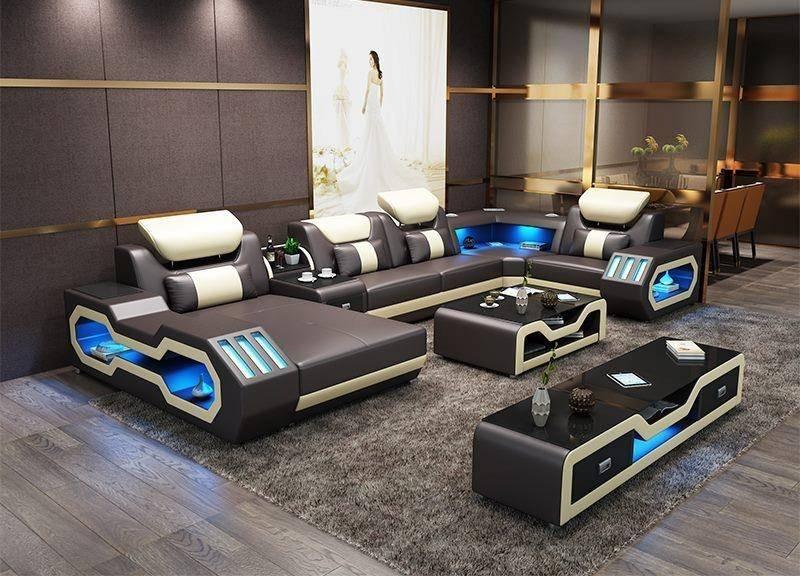 Top Leather Grey LED light Sectional Sofa Set 3Pcs Maxwest P866 .