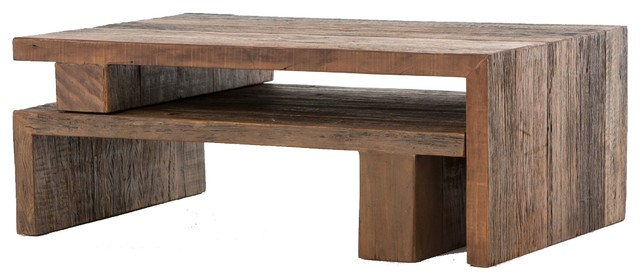 Ferris Reclaimed Wood Modular Nesting Coffee Table - Rustic .