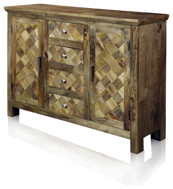 Two-Door Four-Drawer Diagonal Parquets Wood Sideboard, Natural .