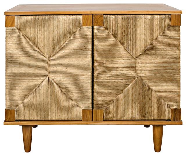 "38"" Long Sideboard Buffet Cabinet 2 Door Solid Teak Wood natural ."
