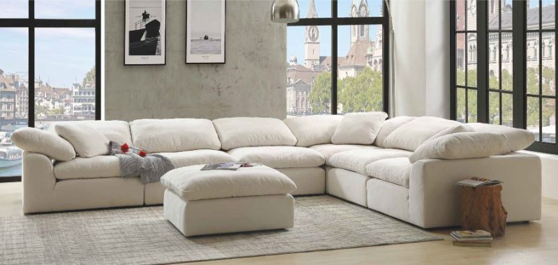 Acme 55130-31 6 pc Naveen ivory linen fabric down feather foam .