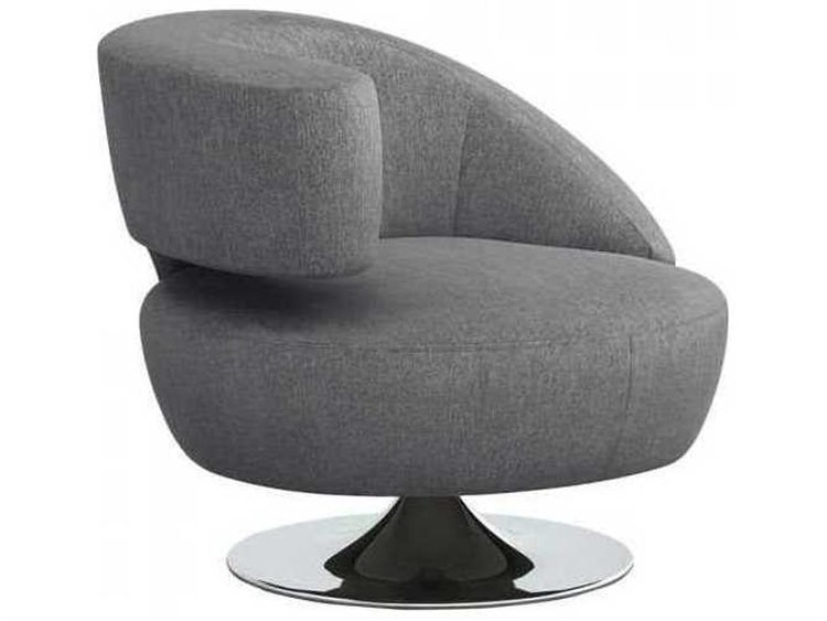 Interlude Home Night / Polished Nickel Swivel Accent Chair | IL19802