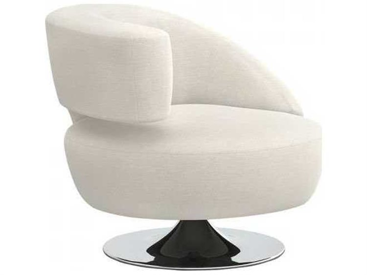 Interlude Home Pearl / Polished Nickel Swivel Accent Chair | IL19802